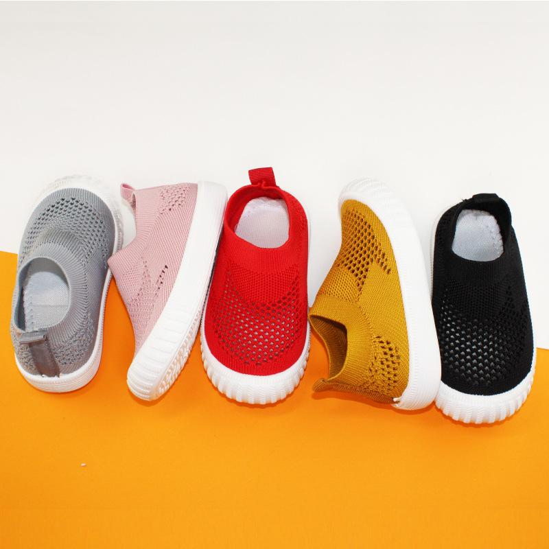 单网实心底 2020新款儿童飞织单鞋 儿童休闲时尚板鞋厂家批发现货
