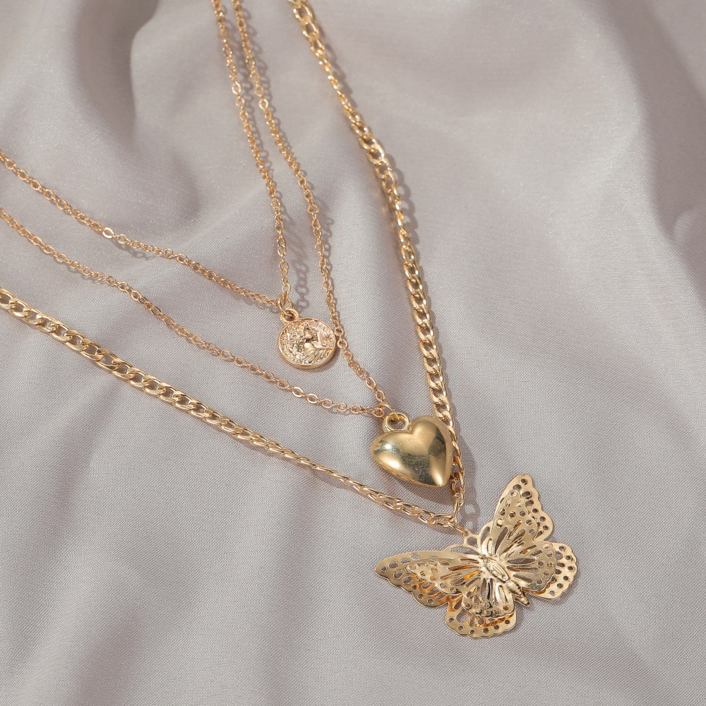 Exaggerate love hollow butterfly necklace personality long multi-layer necklace sweater chain women NHMO235928