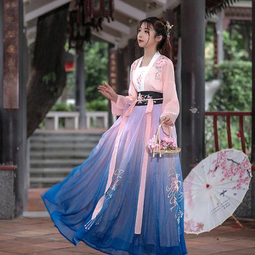 Hanfu women flower embroidery is pure and elegant, authentic adult women waist to skirt ruskirt fairy Hanfu
