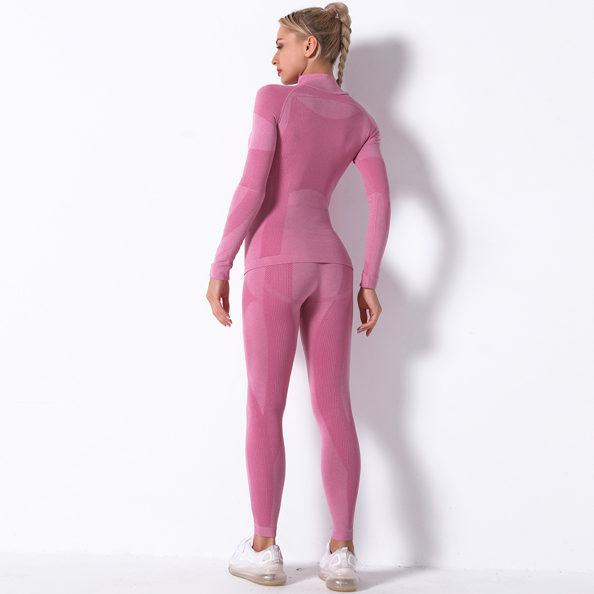 seamless knitted striped sports yoga long-sleeved two-piece suit  NSLX9020