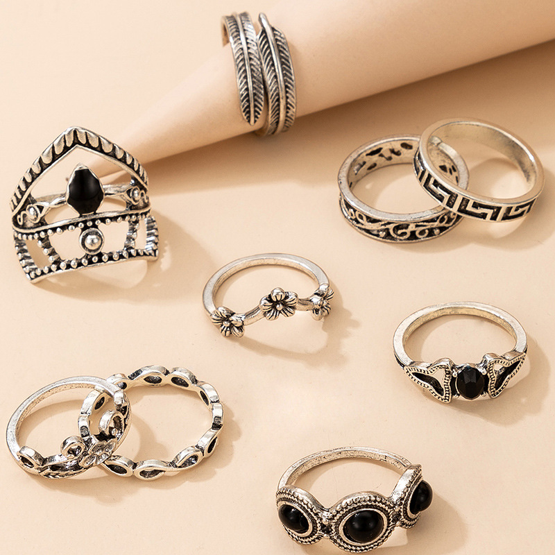 new  retro hollow inlaid black diamond flower leaf ring 9 piece set  NHGY277129