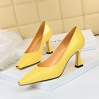 615-2 with shallow with European and American fashion thick with high tilefish mouth stone grain fish mouth shoes for women's shoes high heels