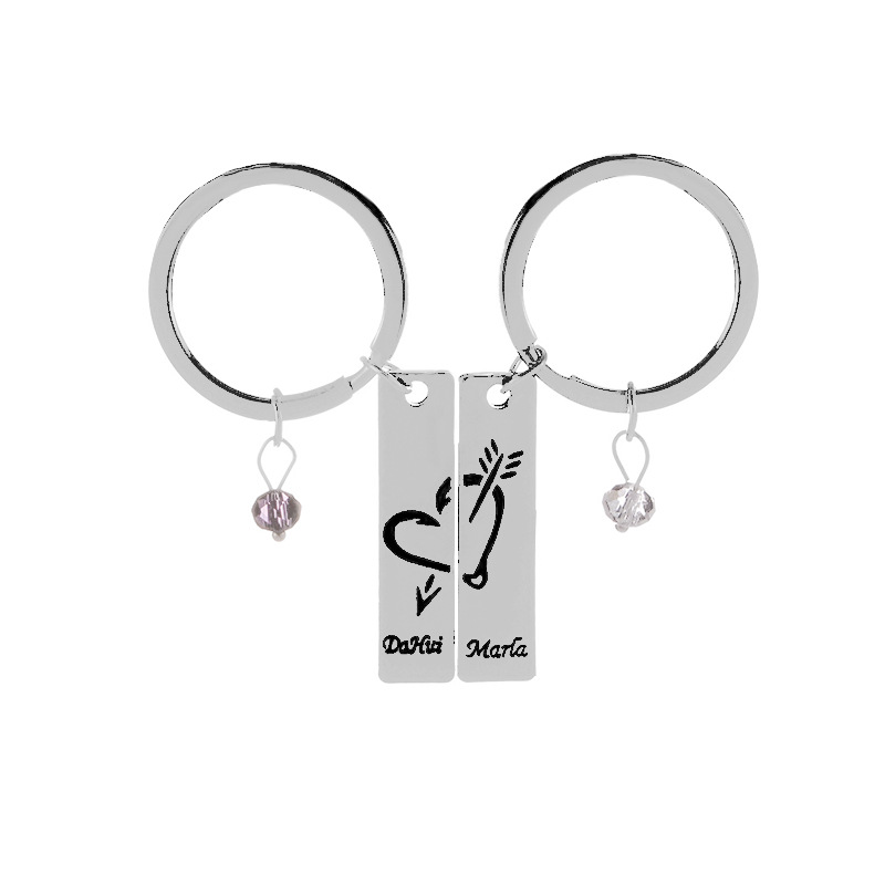 hot selling fashion new simple  key chain couple love bow and arrow splicing key chain alloy lettering  key chain nihaojewelry wholesale NHMO222845
