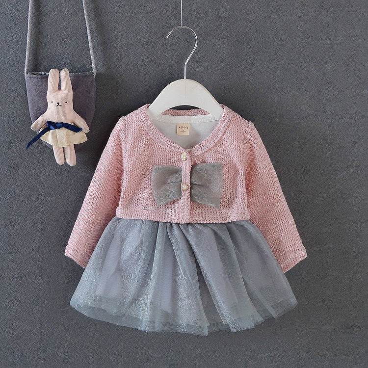 2020 new spring autumn girl baby long-sleeved suit Spring butterfly cardigan with mesh skirt long-sleeved suit