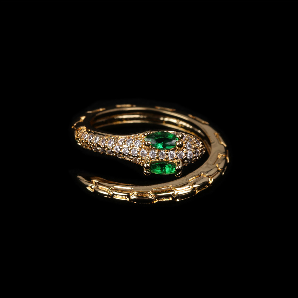 new fashion simple apm snake ring personality trend inlaid zircon serpentine open index  ring nihaojewelry wholesale   NHPY235749