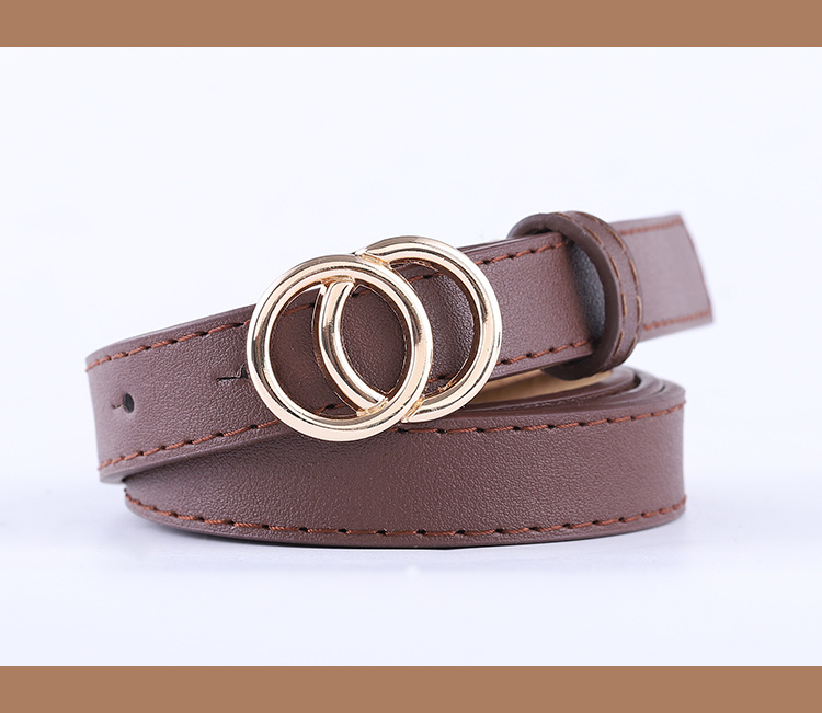 new ladies thin belt fashion casual decoration jeans belt double round buckle wholesale nihaojewelry NHPO233493