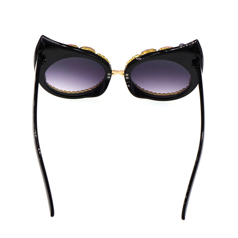 new fashion simple  large frame retro cat eye diamond sunglasses female tide  sunglasses sunscreen shade glasses nihaojewelry wholesale NHNT216277