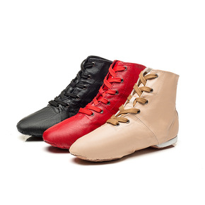 High top jazz dance shoes dance training shoes soft soled adult Jazz boots Ballet Dance men's and women's modern dance shoes leather