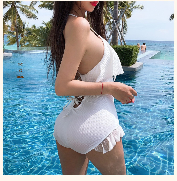 fashion slim black pure white sexy backless one-piece swimsuit  NSHL4026