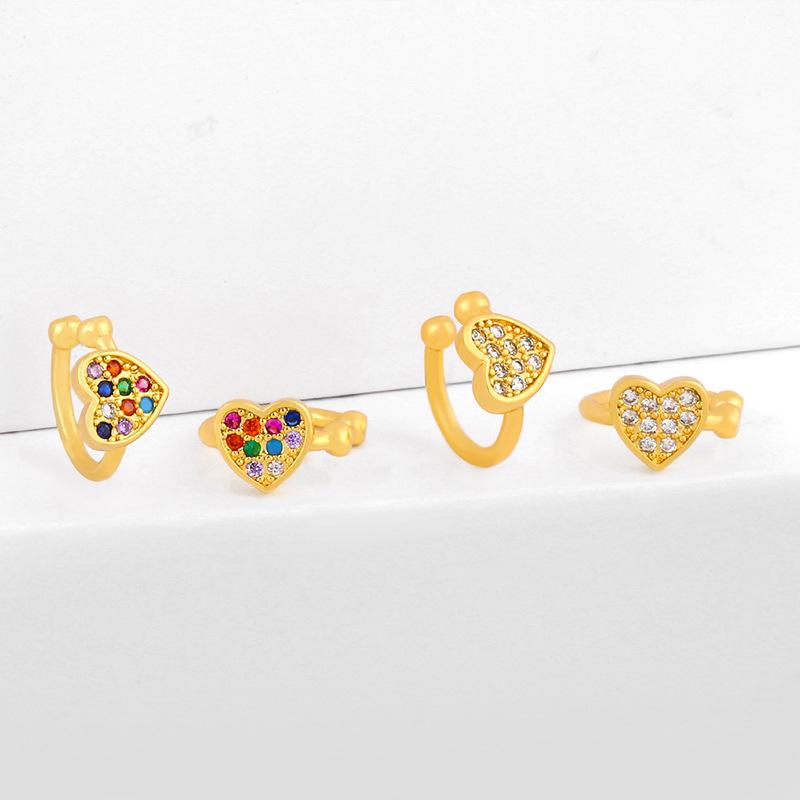 Earrings retro heart-shaped love earrings ear clips without piercings hypoallergenic diamond ear bone clip female NHAS205243