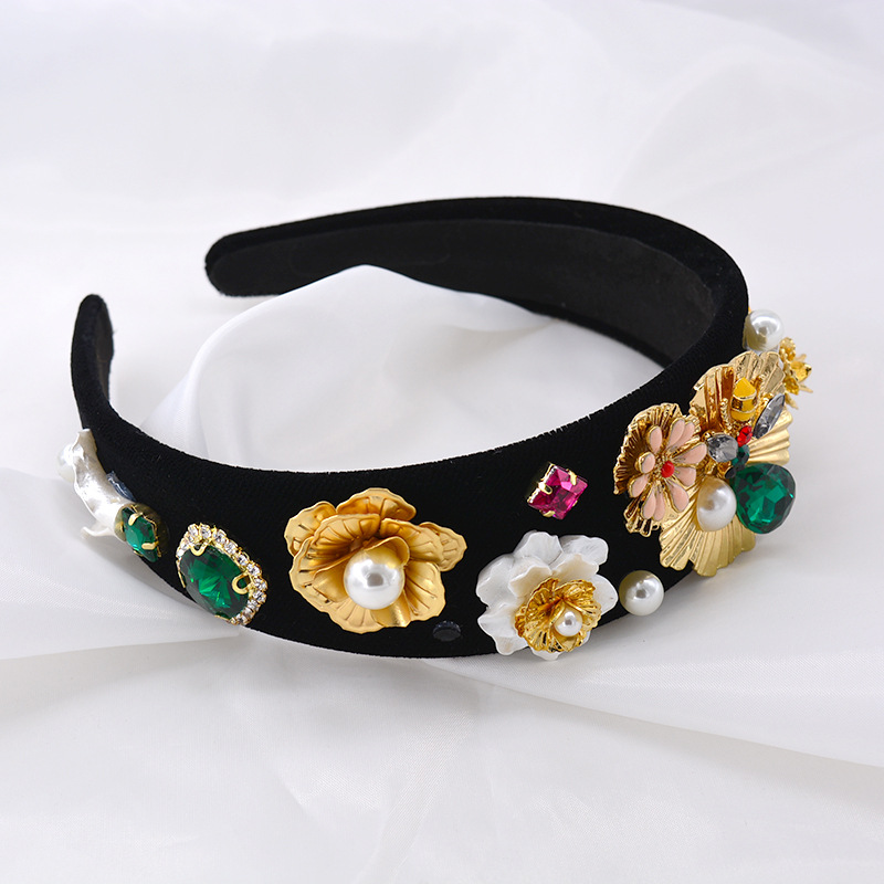 Baroque Vintage Baroque Long Pearl Maple Leaf Knotted Bud Headband Polka Dots NHNT203520