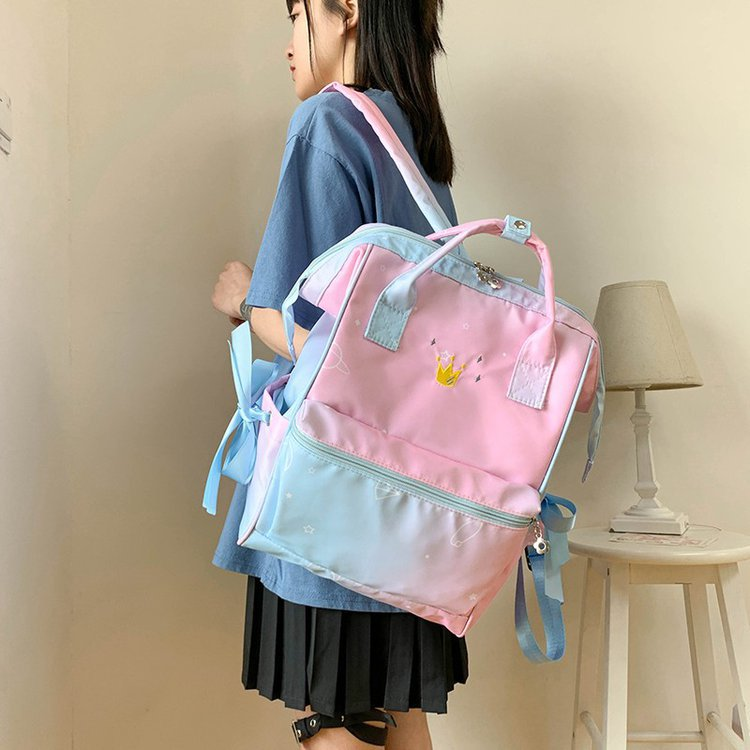 fashion gradient embroidery crown girl bag schoolbag bow student backpack  wholesale nihaojewelry NHHX220866