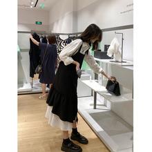 网红款【魔力裙】黑色连衣裙女秋2020新款设计感气质范吊带长裙子