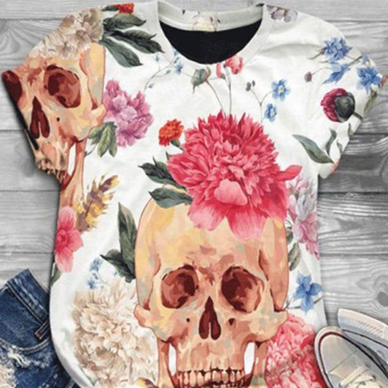 Spot 2020 summer new European and American hot selling Rose Skull Head digital printing Casual Short Sleeve T-Shirt