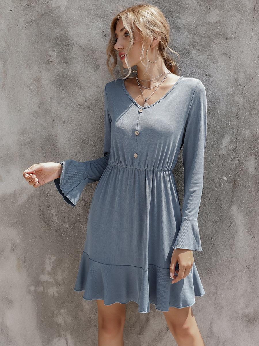 V-neck solid color waist slim long-sleeved dress NSAL2089