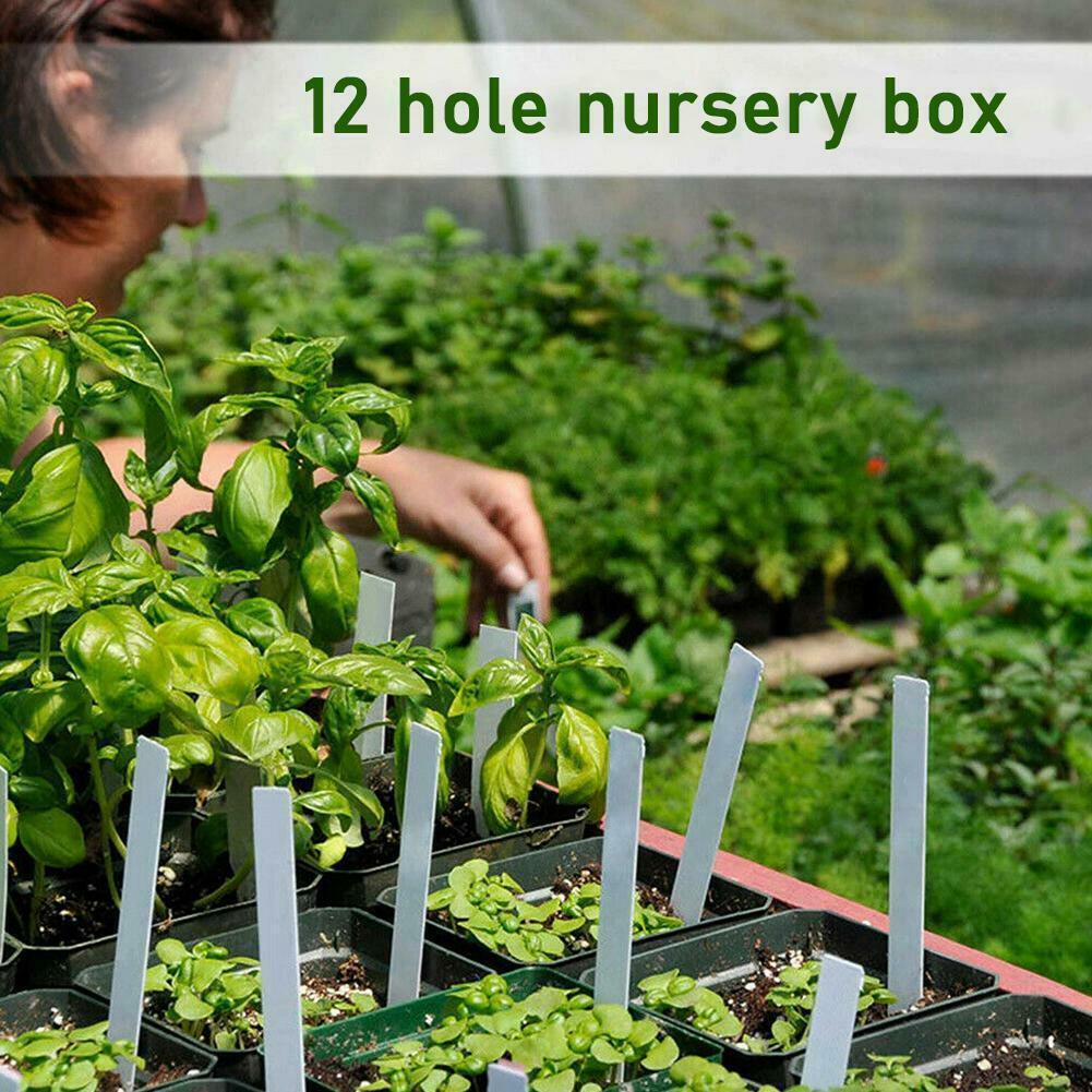 12 Hole Plant Seed Grow Box Nursery Seedling Starter Yard Garden Tray X2Y1