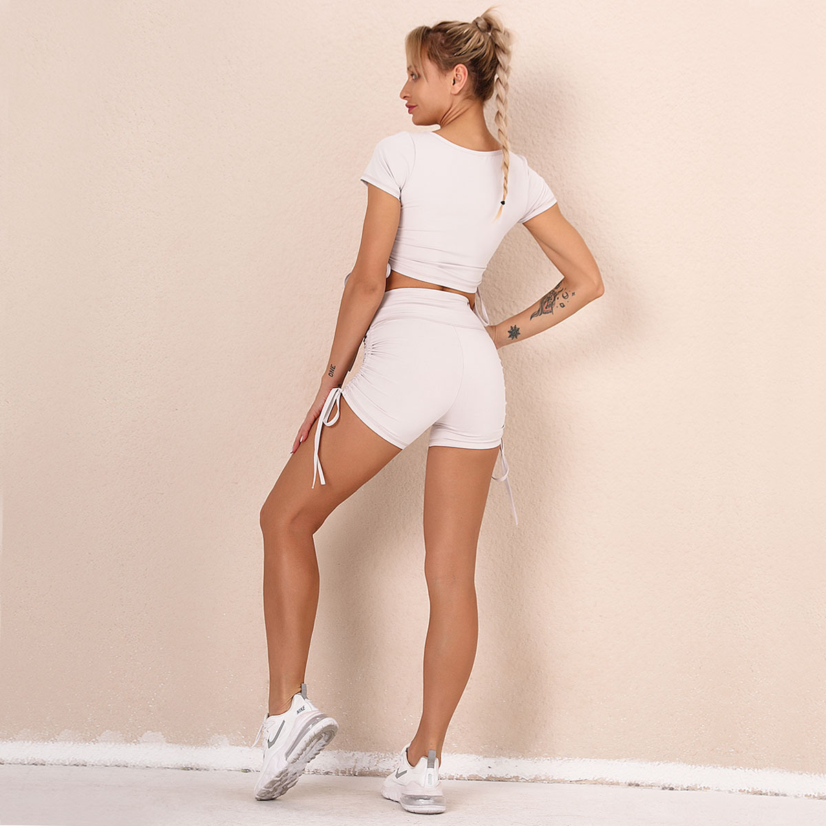 bow solid color short-sleeved shorts yoga suit  NSNS14720