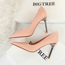6189-5 European and American fashion simple metal heel thin heel high heel shallow mouth pointed head sexy thin single shoe high heels