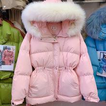 日系甜美粉色棉衣棉服短款韓版寬松收腰面包服真毛領外套女2020冬