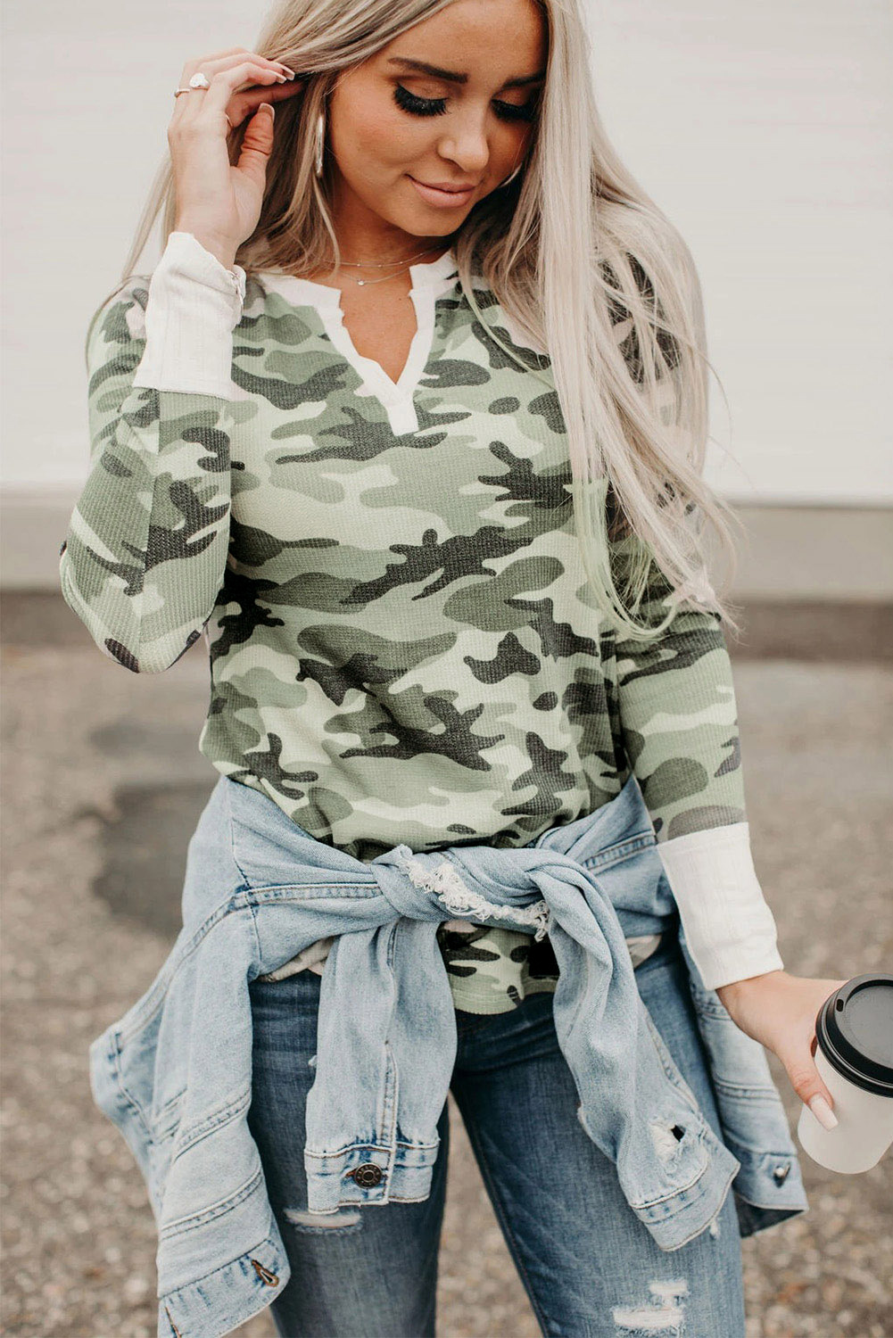 women camouflage color matching new loose long-sleeved women's sweater  NSSI2356