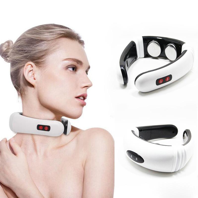 加热颈部颈椎按摩器电磁脉冲颈椎理疗仪 多功能无线充颈椎按摩器