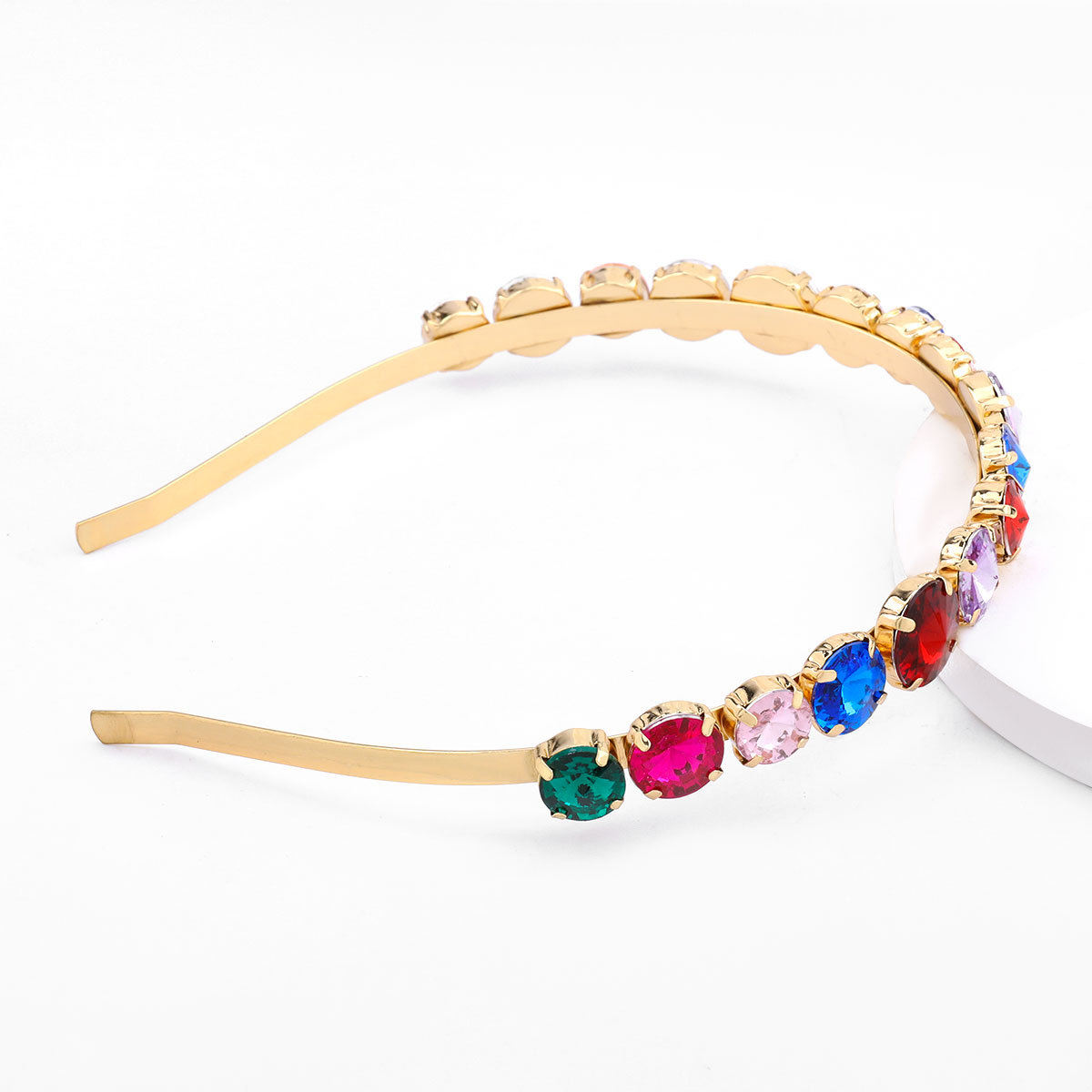 Hot-selling fashion alloy diamond-studded round glass women's exquisite hair accessories nihaojewelry NHJE238806