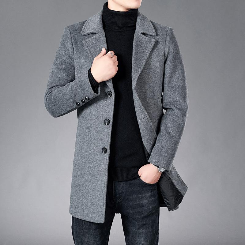 新款羊绒大衣男士2020年中长款羊毛呢外套韩版秋冬季加厚妮子风衣