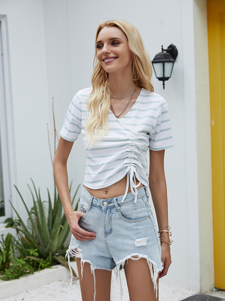 pleated lace slim-fit striped knitted T-shirt NSAL2906