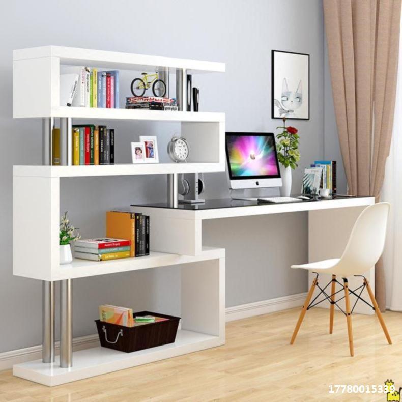 办公桌单人组合书架家用课桌桌面拐角置物架学生用整体商用简易经
