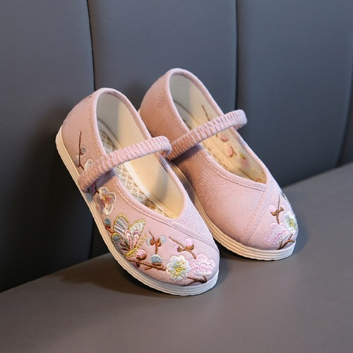Children Chinese folk dance hanfu embroidered shoes tourist area Chinese dress shoes girl Chinese folk dance princess hanfu white shoes Beijing folk dance shoes