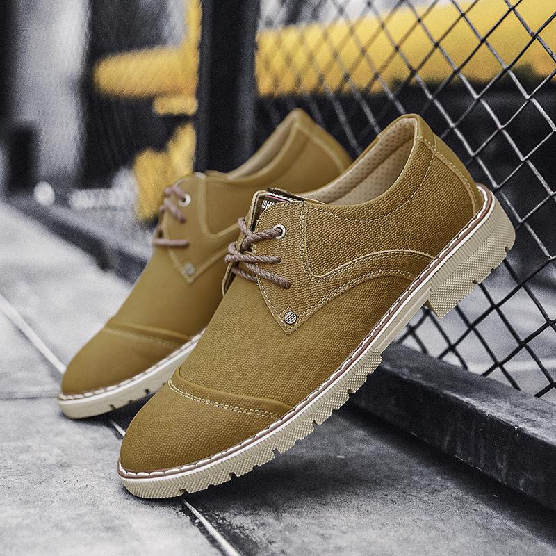 冬季现货黄色皮鞋男商务休闲鞋男工装时尚真皮鞋厂家直销一件代发