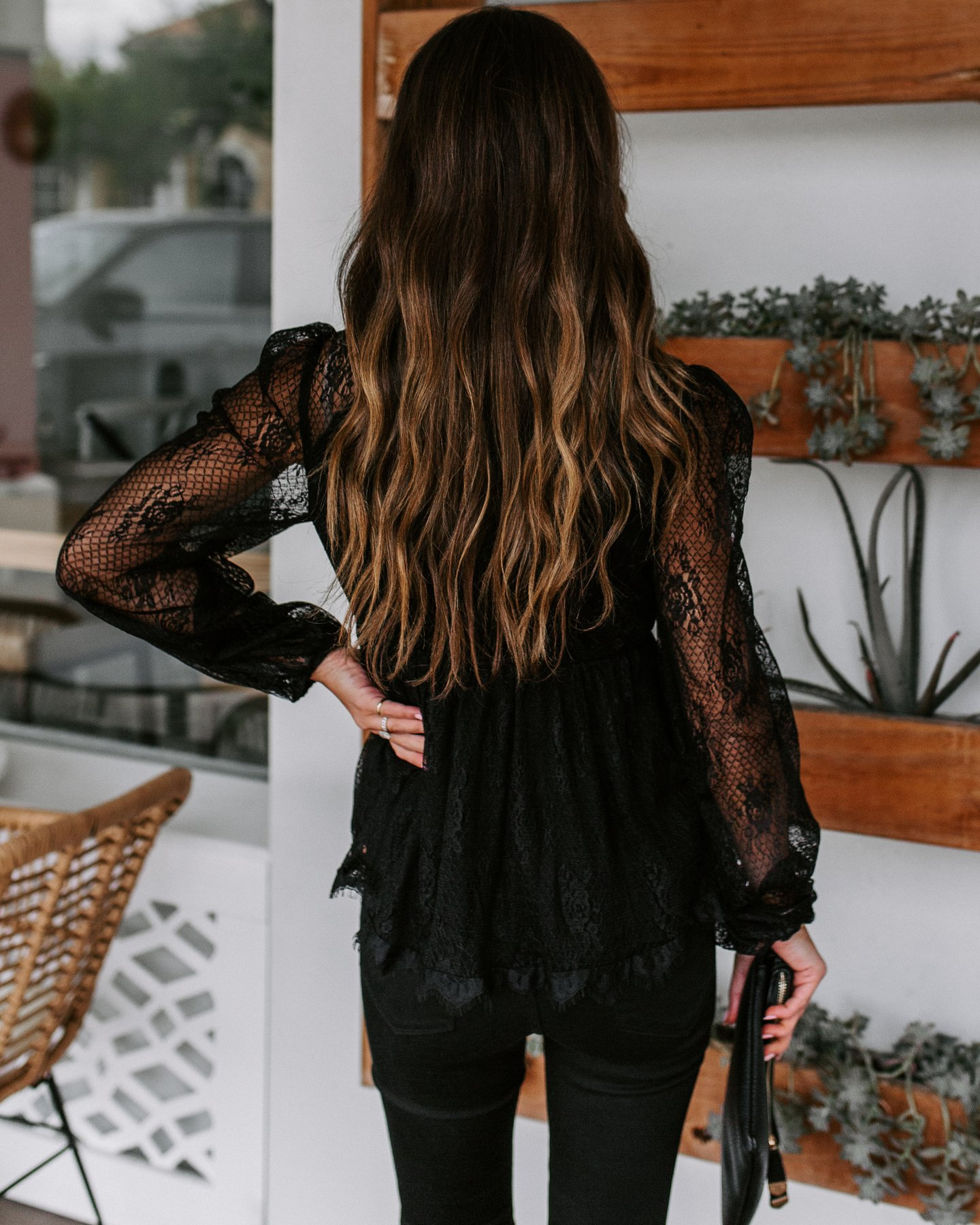 autumn new style lace embroidery stitching lace bow tie long-sleeved shirt NSYD3685