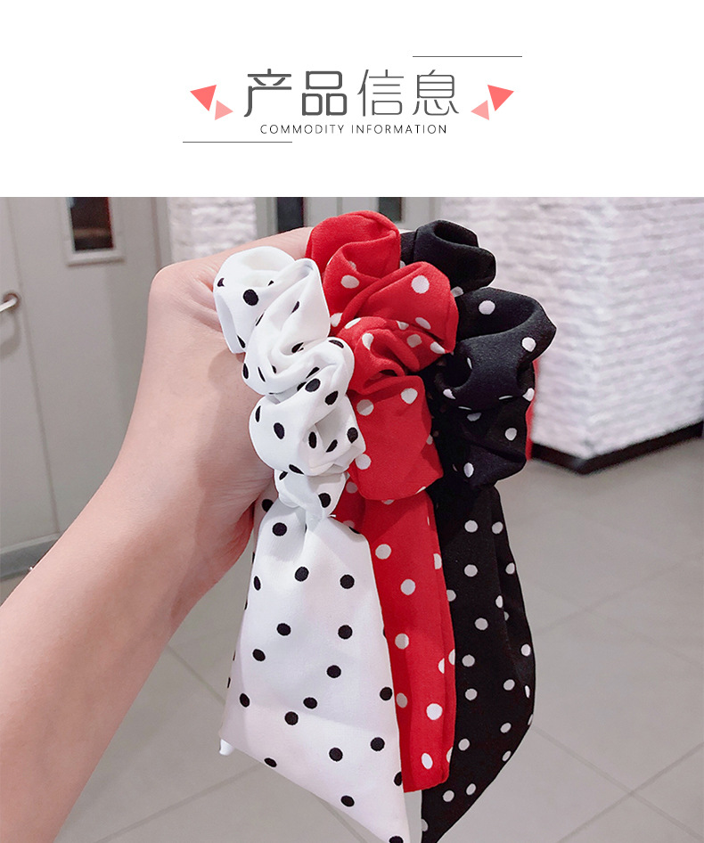 New fashion wave dot bow ribbon streamer scrunchies wholesale NHNA212611