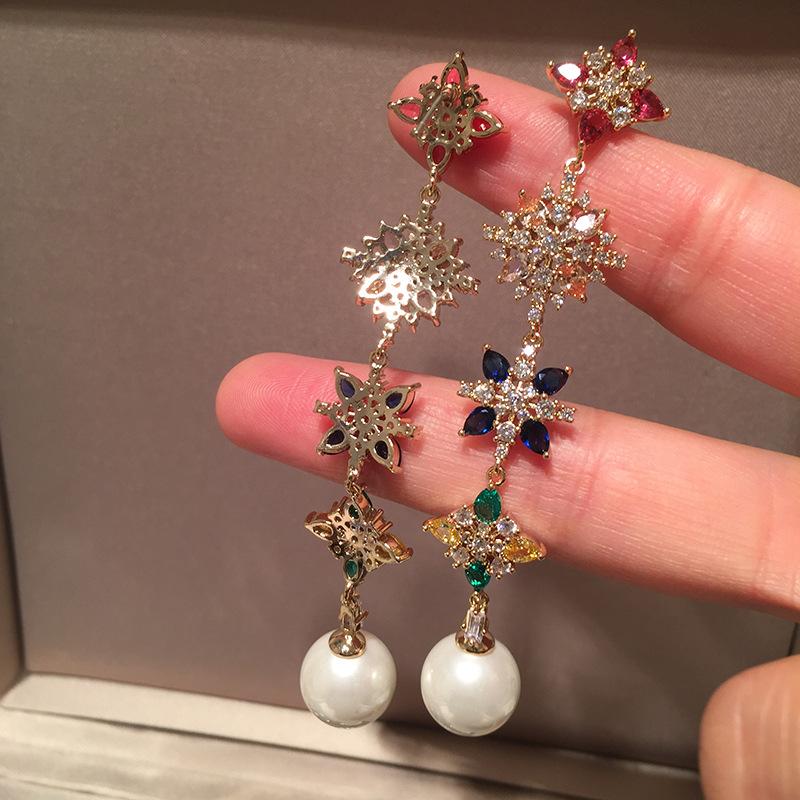 Long flower earrings  long tassel sweet S925 silver needle elegant pearl earrings NHWK206117