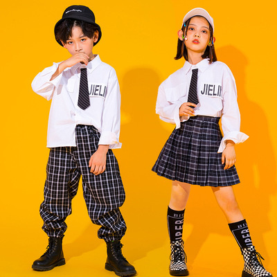 Children hip hop  dance costumes boys street hip hop dance outfits girls Jazz show uniform JK college uniforms