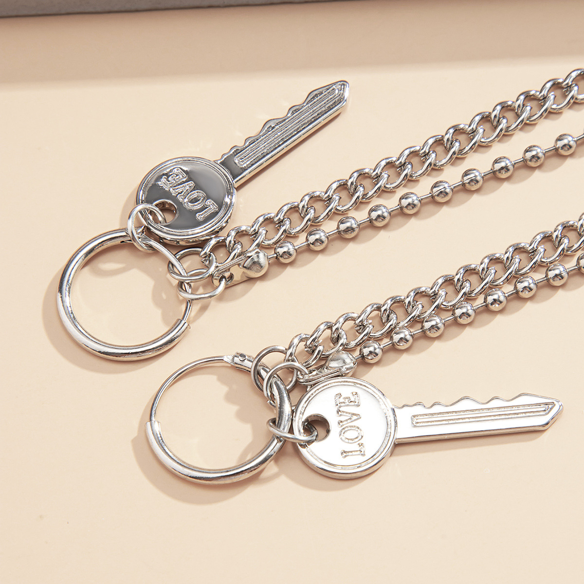 retro simple key pendant earrings NHXR268525