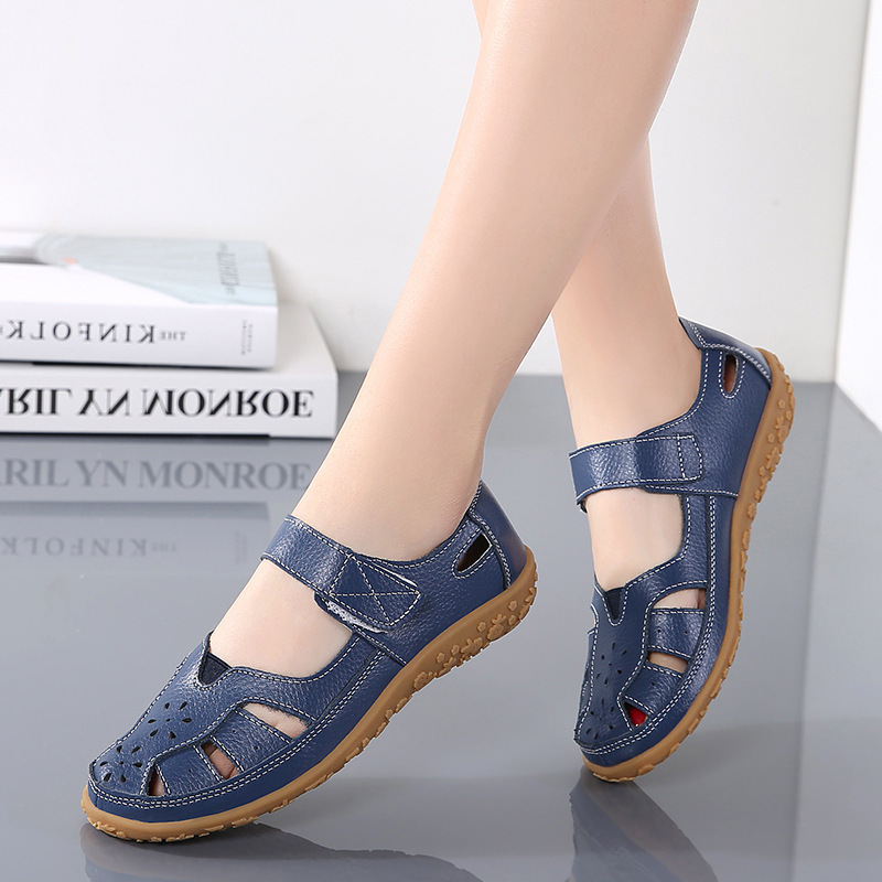 Spring and summer new women's sandals large hollow women's shoes hole shoes mother's shoes women's single shoes breathable nurse's small white shoes