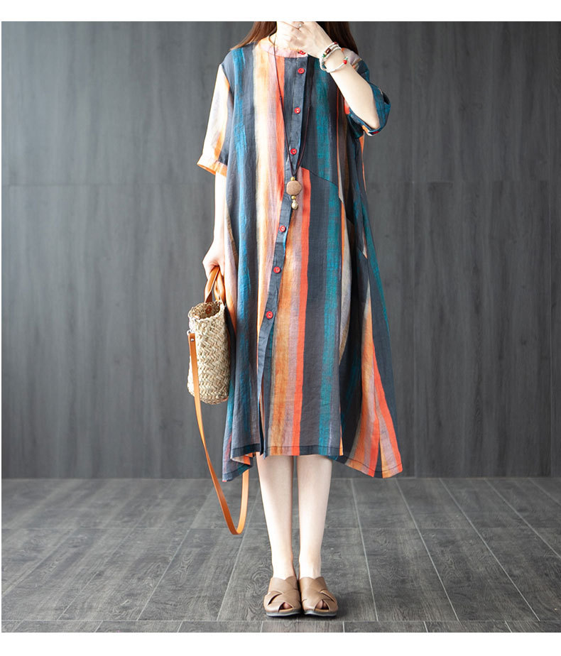 Womens summer new Korean loose large size womens clothing wear trendy stitching thin shirt dress wholesale nihaojewelry NHYF230398