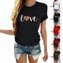 亚马逊ebay热卖爆款女上衣 LOVE豹纹字母印花圆领短袖t恤