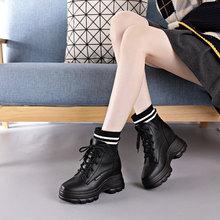 内增高马丁靴女潮ins酷真牛皮厚底坡跟春秋单靴8cm中筒靴加绒新款