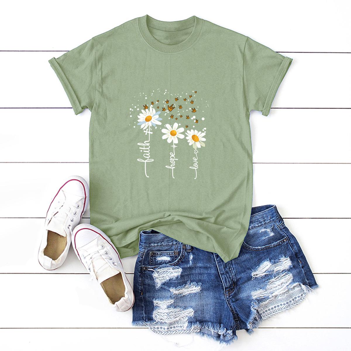 casual small chrysanthemum short-sleeved women's T-shirt NSSN1800