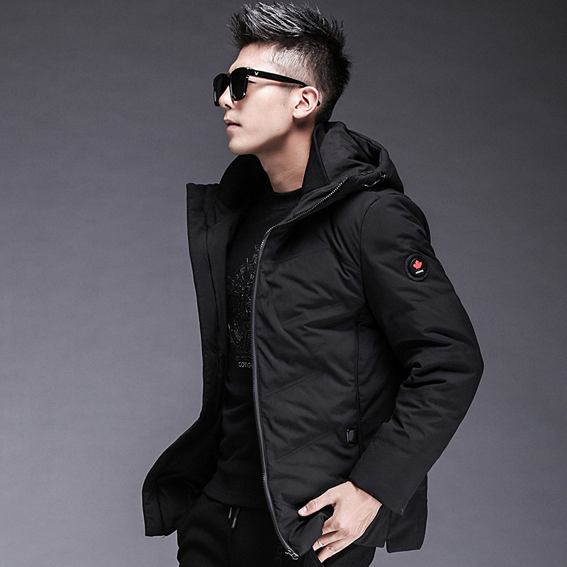 2019 winter new products thick hooded down jacket men's short youth white duck down warm casual jacket