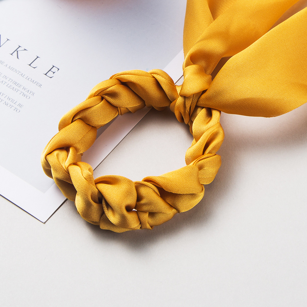 Fashion solid color hairband super long bowel scarf scarf ponytail rope satin big tail hair ring suppliers china NHLN202566