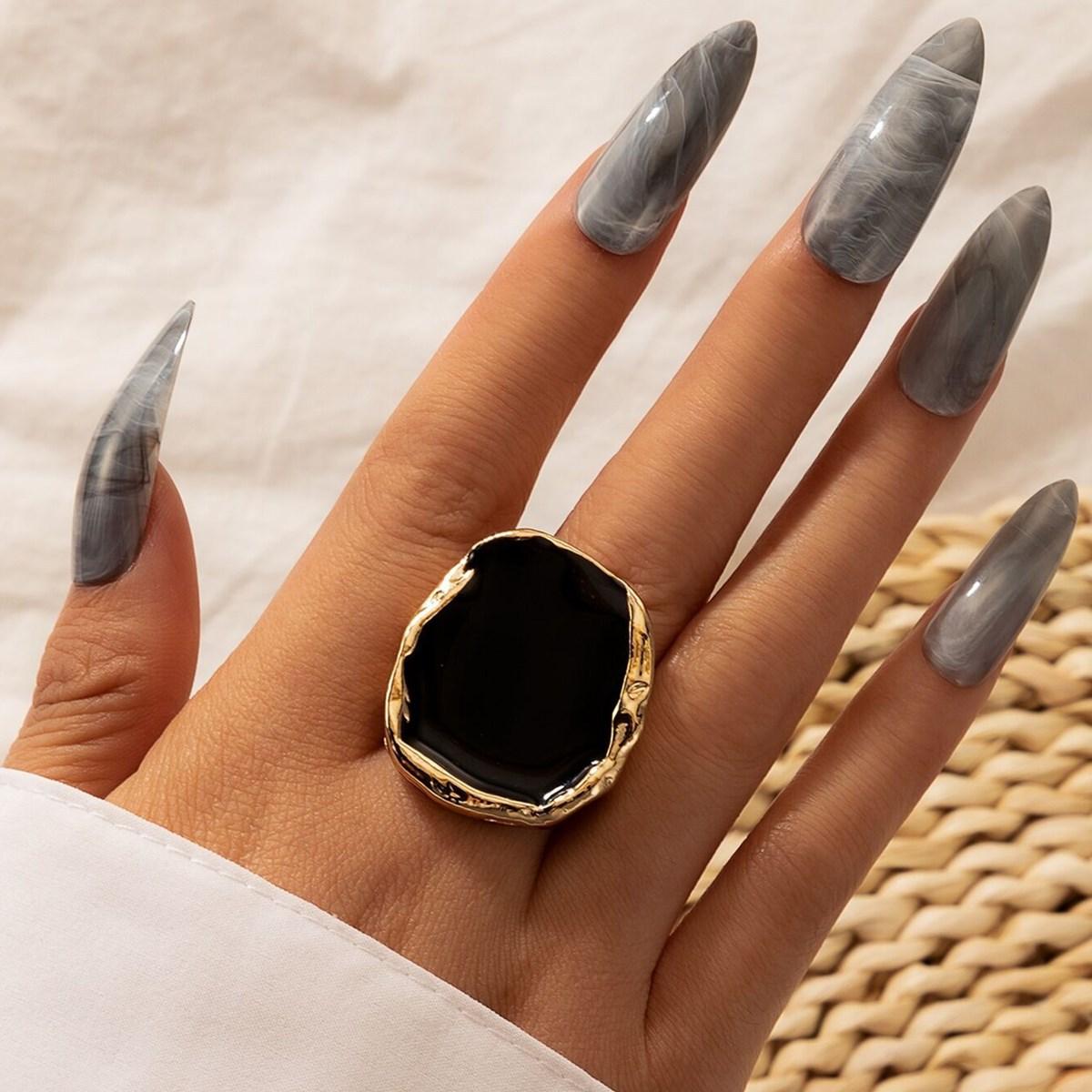 alloy irregular gold edging retro ring NHGY286350