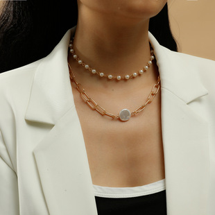 French retro multi-layered freshwater pearl embossed flower necklace female Korean temperament wild necklace clavicle chain