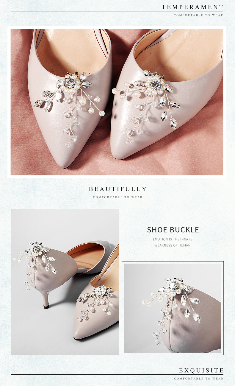 Fashion high-end jewelry European and American bridal wedding shoes accessories crystal flowers handmade DIY wild shoe buckle NHHS211436