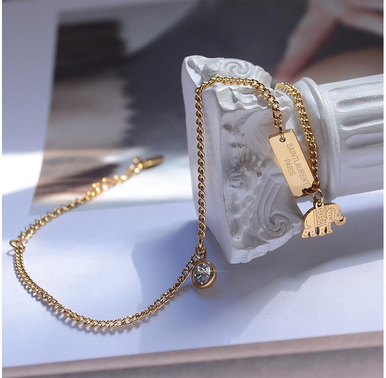 trendy niche simple baby elephant zircon titanium steel anklet  NHOK263918