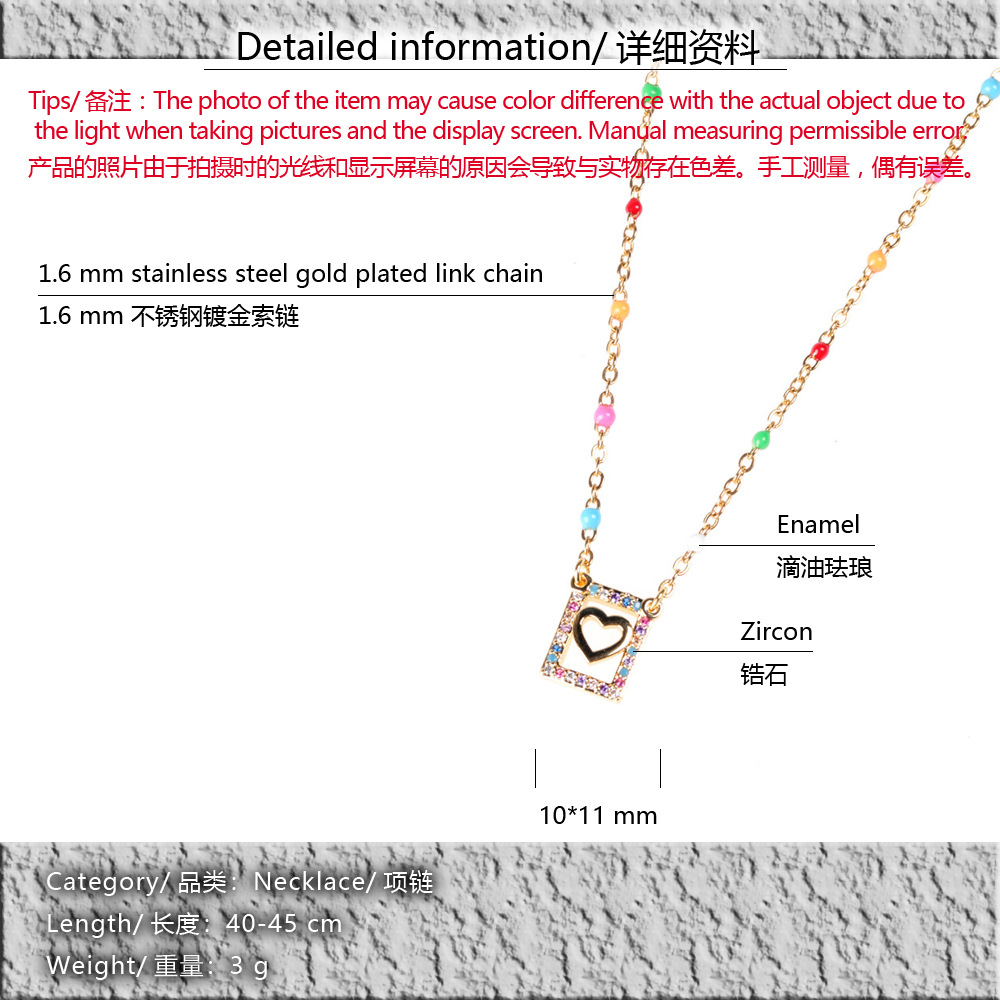 New square hollow stainless steel drip fashion female clavicle chain diamond love pendant necklace NHPY211594