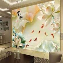 瓷砖背景墙 客厅电视背景3d雕刻 电视墙砖雕刻现代新中式山水荷花