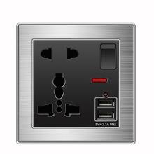 國際版英式13A插座 USB帶五孔插座面板86型不銹鋼拉絲銀